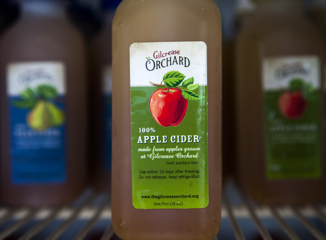 Homemade apple cider at Gilcrease Orchard, 7800 N. Tenaya Way, on Thursday, Oct. 9, 2014. The cider is made from apples at the orchard.  (Jeff Scheid/Las Vegas Review-Journal)