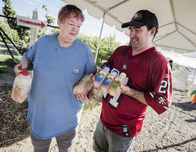 Amy Buntjer, left, and Bill Radcliffe purchase homemade  cider at Gilcrease Orchard, 7800 N. Tenaya Way, on Thursday, Oct. 9, 2014. The cider is made from apples at the orchard.  (Jeff Scheid/Las  ...