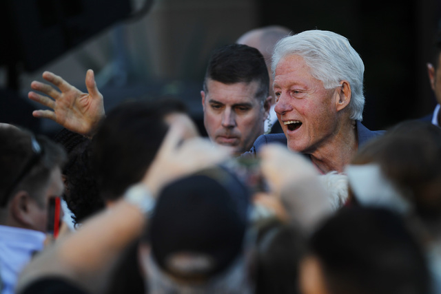 Former President Bill Clinton greets fans after delivering a speech during a Nevada Democratic Party campaign rally Tuesday, Oct. 28, 2014 at the Springs Preserve. (Sam Morris/Las Vegas Review-Jou ...