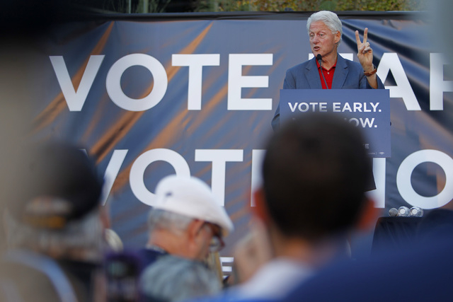 Former President Bill Clinton speaks during a Nevada Democratic Party campaign rally Tuesday, Oct. 28, 2014 at the Springs Preserve. (Sam Morris/Las Vegas Review-Journal)