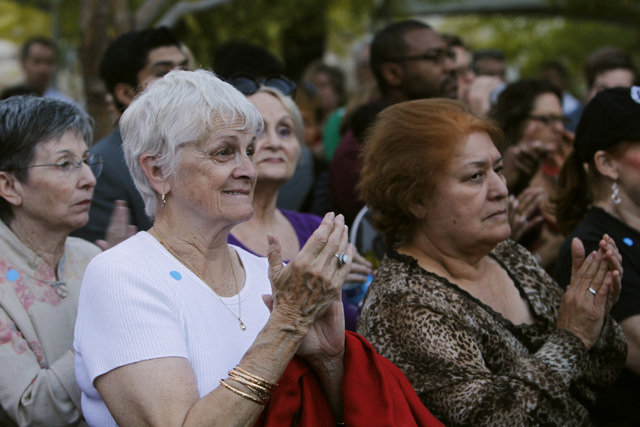 Fans applaud during former President Bill Clinton's speech during a Nevada Democratic Party campaign rally Tuesday, Oct. 28, 2014 at the Springs Preserve. (Sam Morris/Las Vegas Review-Journal)