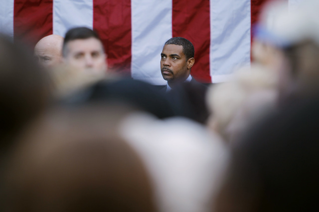 Congressman Steven Horsford, D-Nev., listens to former President Bill Clinton's speech during a Nevada Democratic Party campaign rally Tuesday, Oct. 28, 2014 at the Springs Preserve. (Sam Morris/L ...