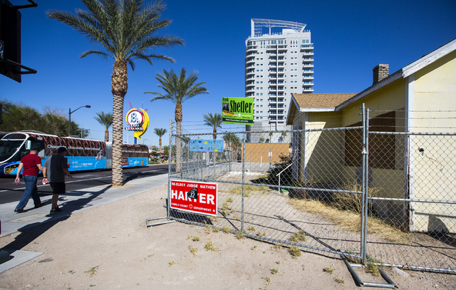 A vacant building on the corner of  Casino Center Boulevard and Coolidge Avenue is seen  Friday, Oct. 24, 2014. Developers are hoping to build a 17 story with with more than 34,500 square feet of  ...