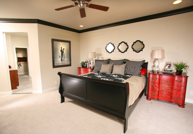 Courtesy photo The master bedroom of Roma 1810, one of the most popular models at Tuscany Village. Century Communities is offering a field model that will be ready for move-in this year.