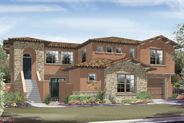 Courtesy photo An artist's rendering of the Cabrillo plan at Ryland Homes' new Capistrano neighborhood in Summerlin. The community celebrates its grand opening today.