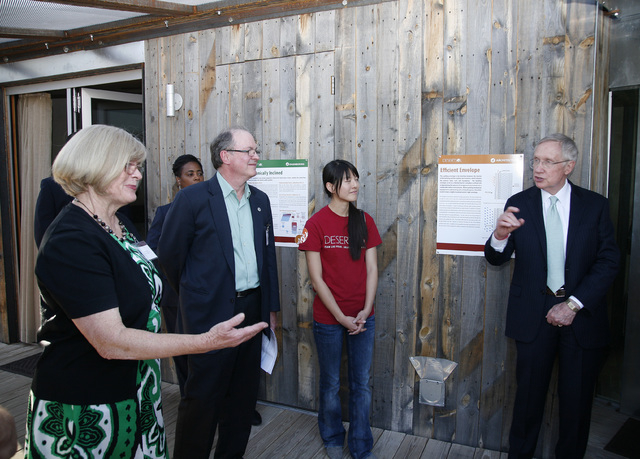 Courtesy photo Pardee Homes Vice President of Marketing Joyce Mason, Department of Energy Solar Decathlon Director Richard King, UNLV Solar Decathlete and DesertSol Project Manager Alexia Chen and ...
