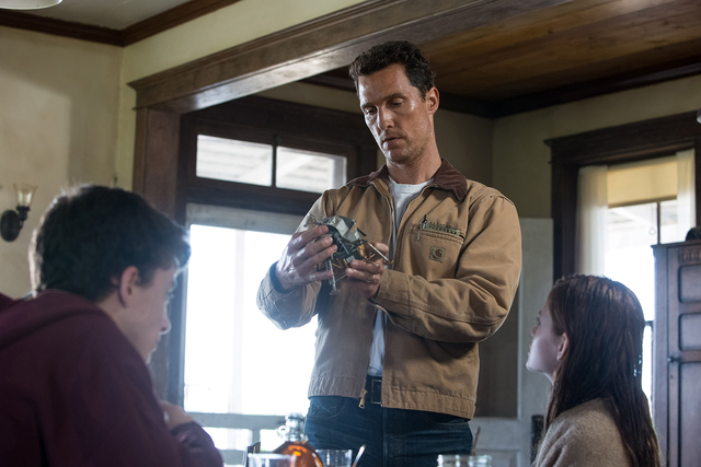 Left to right: Timothée Chalamet, Matthew McConaughey and Mackenzie Foy in INTERSTELLAR; from Paramount Pictures and Warner Brothers Entertainment.