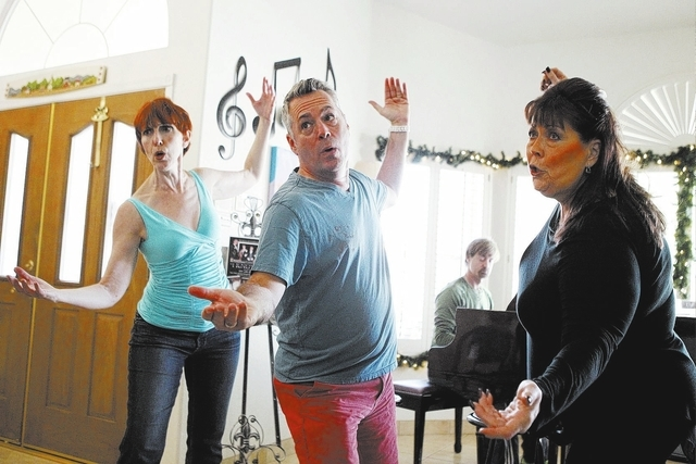 """Susan Haller, from left, Jay Joseph, and Jeneane Marie, cast members of the play, """"I know I came in here for something,"""" rehearse their scene at Hattie's House,  9109 Lazy Hill Circle, S ..."""