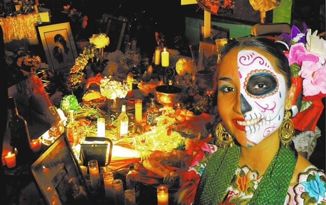 Alondra Contreras of the dance group Ballet Folklorico Xyachimal takes part in the 2010 Life in Death: Day of the Dead Festival at the Winchester Cultural Center, 3130 McLeod Drive. The Springs Pr ...