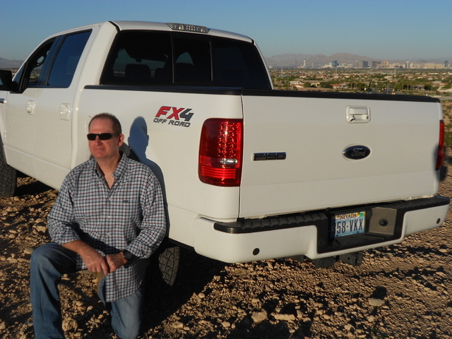 Courtesy photo Mike Weaver, a resident of Las Vegas since 1969, loves his 2008 Ford F-150 but he's also now hooked on the Ford Raptor after a test run near Eldorado Valley Friday.