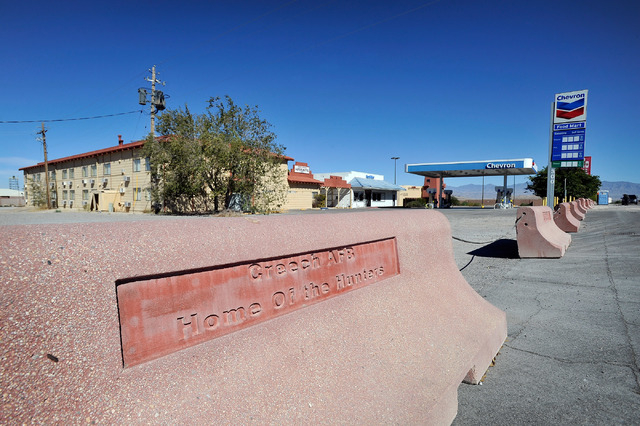 Concrete barriers prevent drivers from entering the Indian Springs Motor Hotel and General Store on Tuesday, Oct. 14, 2014. The roadside businesses, 45 miles north of downtown Las Vegas, were comp ...
