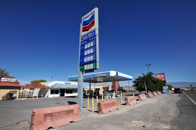Concrete barriers prevent drivers from entering the Indian Springs Casino, Motor Hotel and General Store on Tuesday, Oct. 14, 2014. The roadside businesses, 45 miles north of downtown Las Vegas, w ...