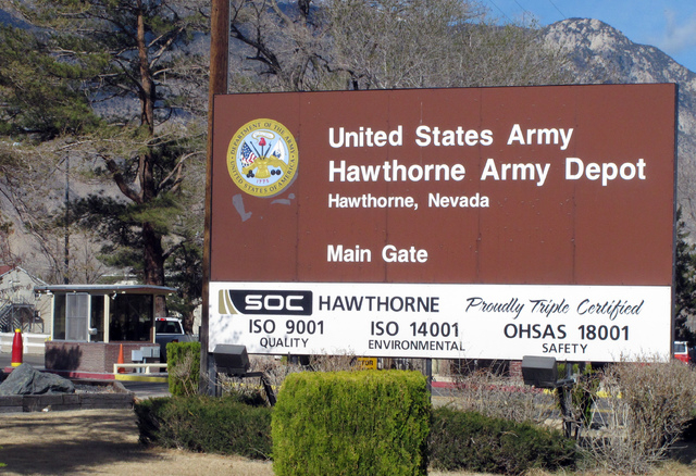 The main gate is seen at the Hawthorne Army Depot on Tuesday, March 19, 2013, where seven Marines were killed and several others seriously injured in a training accident Monday night, about 150 mi ...