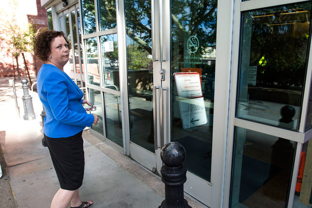 Clark County Clerk Diane Alba stands outside the County Marriage License Bureau at Regional Justice Center on Wednesday, Oct. 8, 2014. She scheduled extra staff to handle the rush of same-sex coup ...
