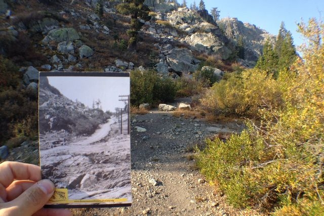 This photo taken on Sept. 24, 2014, shows the remnants of what was once known as the Lincoln Highway, which are still visible in the Donner Pass near Truckee, Calif. In addition to the historic hi ...