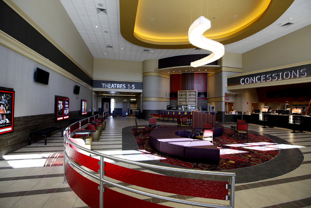 The lobby of the Regal Downtown Summerlin 5 cinema in Las Vegas on Wednesday, Oct. 1, 2014. The cinema will offer viewers comfortable seats and the ability to drink alcohol and food while watching ...