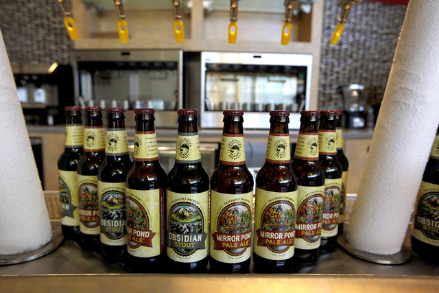 Deschutes Brewery beers are some of the alcohol available to customers at the Regal Downtown Summerlin 5 cinema in Las Vegas on Wednesday, Oct. 1, 2014. The cinema will offer viewers comfortable s ...