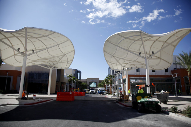 Shade structures over a street in Downtown Summerlin in Las Vegas on Friday, Sept. 26, 2014. Downtown Summerlin will open to the public on October 9, 2014. (Justin Yurkanin/Las Vegas Review-Journal)