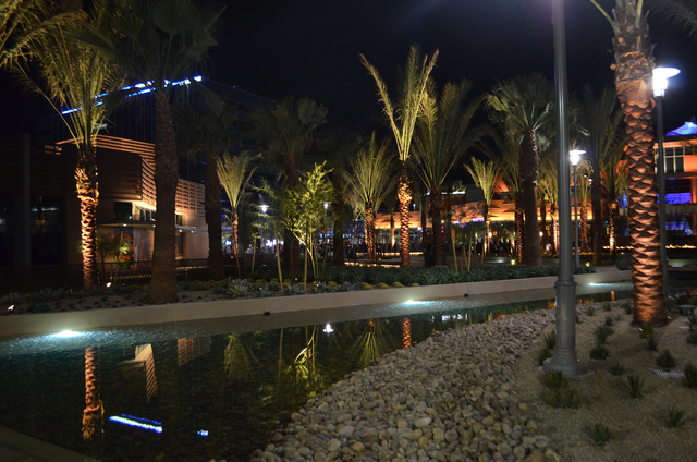 A view of an outdoor area in the 106-acre shopping center portion of the 400-acre Downtown Summerlin project is shown during the center's opening night, Oct. 9, 2014. Eighty-five of the center's ...