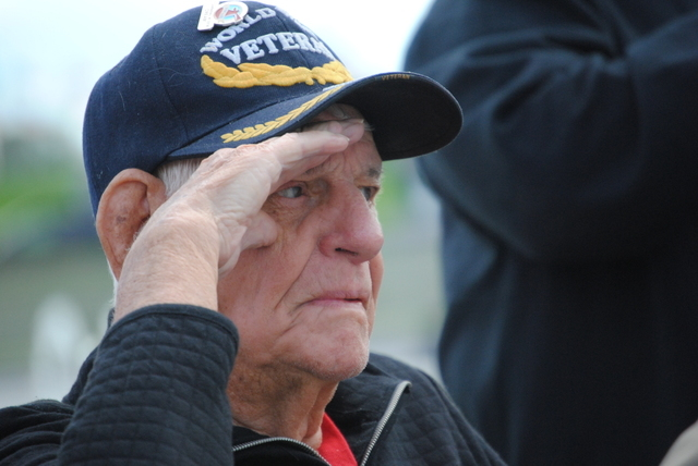 Henry McCullough, 91, of Las Vegas served in the U.S. Navy in the Pacific theater during World War II. He was as a machinist's mate, second class. (Peter Urban/Stephens Washington Bureau)
