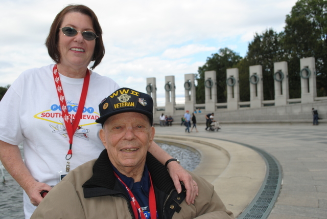 Richard Miller, 89, was in the Naval Air Corps serving in the Pacific. He was joined at the WWII Memorial by family members, including his daughter Linda Payton, who is caring for him in Las Vegas ...