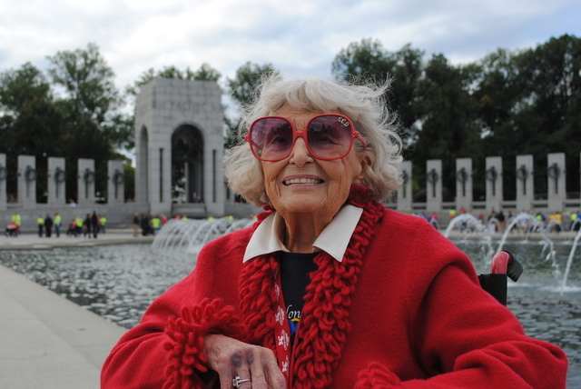 Katherine Burt of Las Vegas is celebrating her 91st birthday with other World War II veterans participating in a Southern Nevada Honor Flight. Burt, who lost her sight a decade ago, was a telephon ...