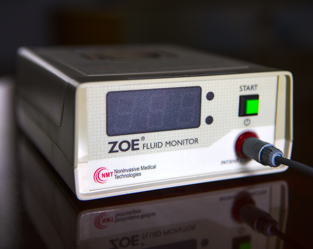 The ZOE fluid status monitor developed by Noninvasive Medical Technologies at  6412 S. Arville Street as seen Monday, Oct. 13, 2014.  The company  manufactures the device that will become part of  ...