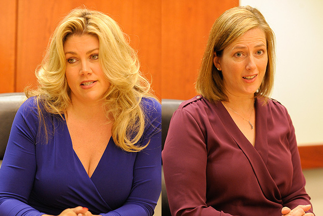 From left, Patricia Farley and Becky Harris speak to the Las Vegas Review-Journal editorial board. (Mark Damon/Las Vegas Review-Journal)