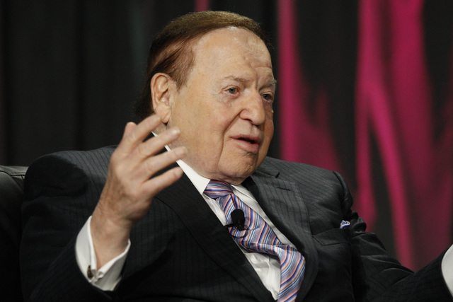 Las Vegas Sands CEO Sheldon Adelson delivers a keynote address at Global Gaming Expo Wednesday, Oct. 1, 2014, at the Sands Convention Center. (Sam Morris/Las Vegas Review-Journal)