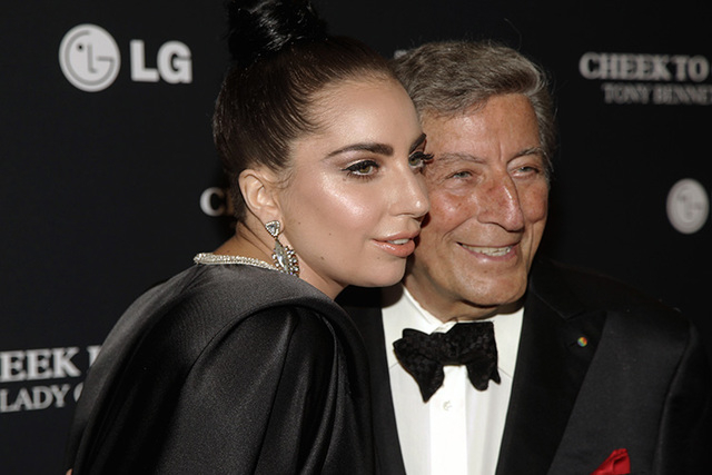 Recording artists Lady Gaga, left, and Tony Bennett, attend a Tony Bennett and Lady Gaga concert taping on Monday, July 28, 2014, in New York. (Andy Kropa/Invision)