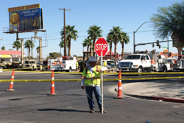 North Las Vegas Fire Department is reporting a gas line is leaking in front of Bighorn Casino at Lake Mead and Belmont. (Bizu Tesfaye/Las Vegas Review-Journal)