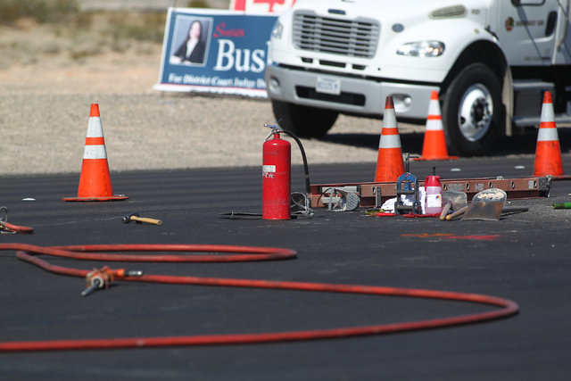 Equipment is seen as crews work on cleaning up the area after a gas leak on Las Vegas Boulevard shut the road down, near Warm Springs Road, across from the Las Vegas Premium Outlets - South, in La ...