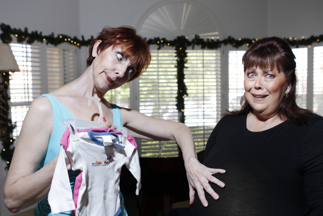 """Susan Haller, left, and Jeneane Marie, cast members of the play, """"I know I came in here for something,"""" pose for a portrait at Hattie's House,  9109 Lazy Hill Circle, Saturday, Oct. 11,  ..."""