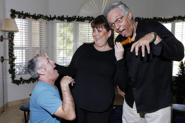 """Jay Joseph, from left, Jeneane Marie, and Victor Moea, cast members of the play, """"I know I came in here for something,"""" pose for a portrait at Hattie's House,  9109 Lazy Hill Circle, Sat ..."""