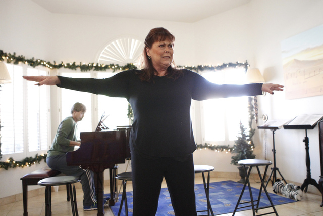 """Jeneane Marie, cast member of the play, """"I know I came in here for something,"""" rehearses her scene at Hattie's House,  9109 Lazy Hill Circle, Saturday, Oct. 11, 2014. (Erik Verduzco/Las  ..."""