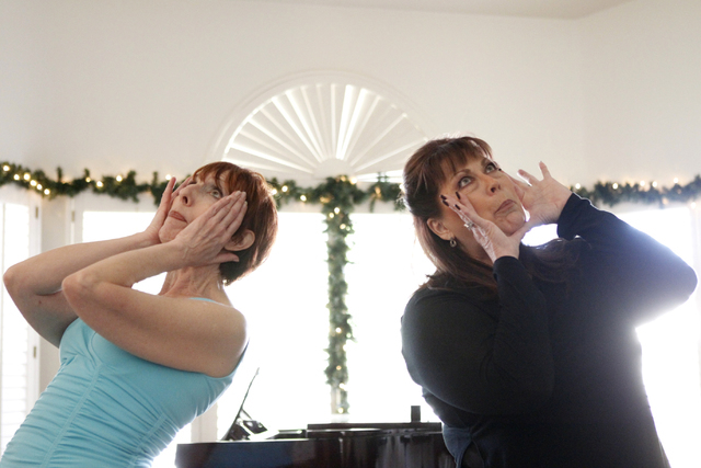 """Susan Haller, left, and Jeneane Marie, cast members of the play, """"I know I came in here for something,"""" rehearse their scene at Hattie's House,  9109 Lazy Hill Circle, Saturday, Oct. 11, ..."""