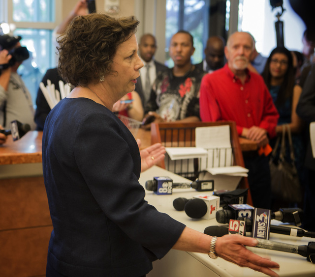 Clark County Clerk Diane Alba vets her frustration on the same-sex court injunction during conference at County License Bureau on Thursday, Oct. 9, 2014. The county is waiting for  United States f ...