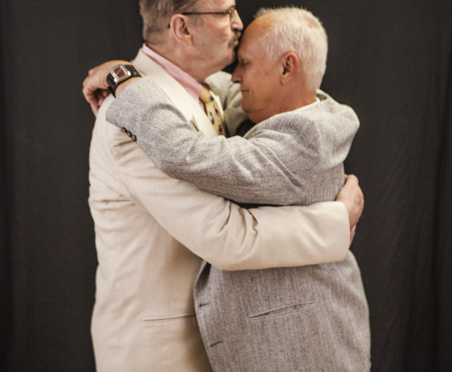 Peter Schmitt,left, 74,and James Hook,65, kiss after getting married at Chapelle De L'Amour, 255 E. Bonneville Avenue on Friday, Oct. 10, 2014.  The Las Vegas couple have  been together for 44 1/2 ...