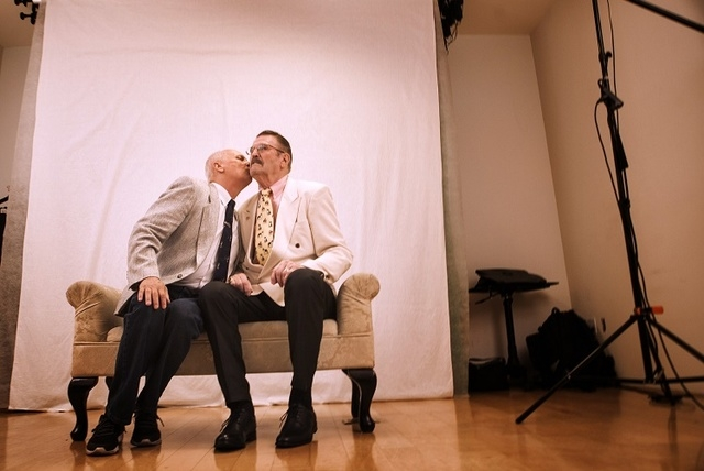 James Hook, left, 65, and Peter Schmitt,left, 74, kiss after getting married at Chapelle De L'Amour, 255 E. Bonneville Avenue on Friday, Oct. 10, 2014.  The Las Vegas couple have  been together fo ...