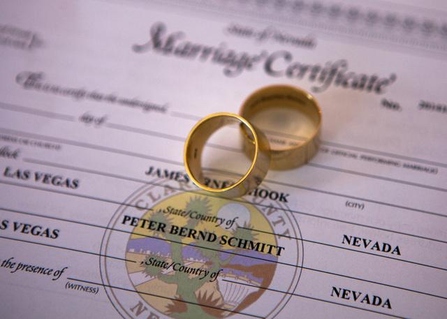 Wedding rings for couple Peter Schmitt and James Hook as seen Friday, Oct. 10, 2014  at Chapelle De L'Amour, 255 E. Bonneville Avenue.  The Las Vegas couple got married today. (Jeff Scheid/Las Veg ...