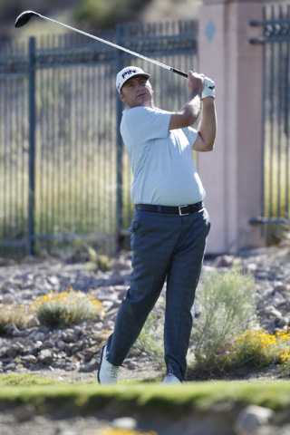 Bill Lunde hits the ball on the 6th tee in the second round of the Shriners Hospitals for Children Open golf tournament at TPC Summerlin, 1700 Village Center Circle, in Las Vegas Friday, Oct. 17,  ...