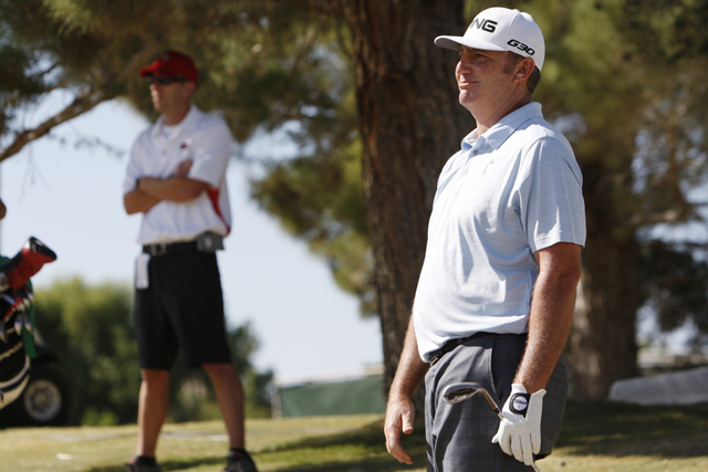 Bill Lunde watches his ball after hitting on the 9th green in the second round of the Shriners Hospitals for Children Open golf tournament at TPC Summerlin, 1700 Village Center Circle, in Las Vega ...