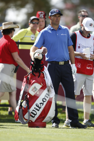 Padraig Harrington gets ready to start his game from the 10th tee in the Shriners Hospitals for Children Open golf tournament at TPC Summerlin, 1700 Village Center Circle, in Las Vegas Thursday, O ...
