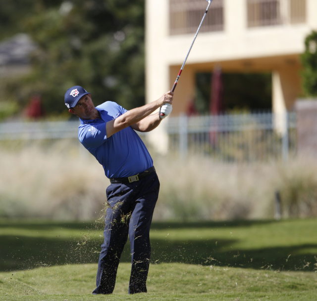 Padraig Harrington hits the ball on the 10th green during the Shriners Hospitals for Children Open golf tournament at TPC Summerlin, 1700 Village Center Circle, in Las Vegas Thursday, Oct. 16, 201 ...