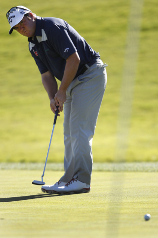 Andrew Svoboda putts the ball on the fifth green in the second round of the Shriners Hospitals for Children Open golf tournament at TPC Summerlin, 1700 Village Center Circle, in Las Vegas Friday,  ...