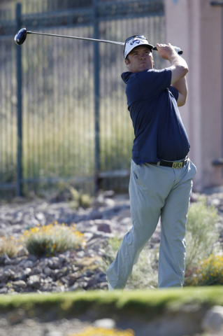 Andrew Svoboda hits a drive ball from the sixth tee in the second round of the Shriners Hospitals for Children Open golf tournament at TPC Summerlin, 1700 Village Center Circle, in Las Vegas Frida ...