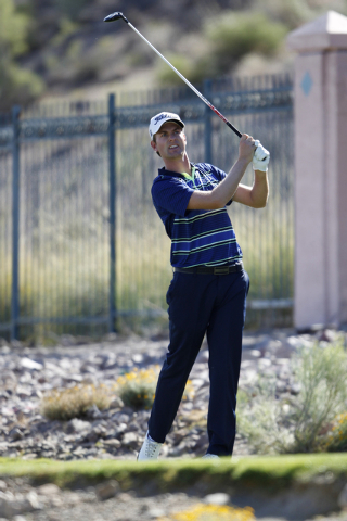Webb Simpson hits a drive ball from the sixth green in the second round of the Shriners Hospitals for Children Open golf tournament at TPC Summerlin, 1700 Village Center Circle, in Las Vegas Frida ...