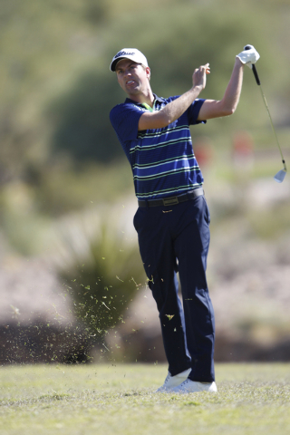 Webb Simpson hits the ball on the sixth green in the second round of the Shriners Hospitals for Children Open golf tournament at TPC Summerlin, 1700 Village Center Circle, in Las Vegas Friday, Oct ...