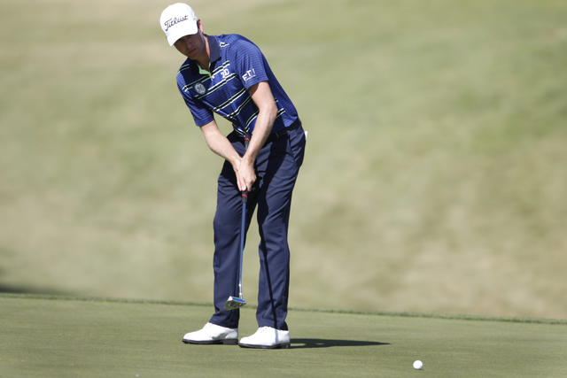 Webb Simpson putts the ball on the sixth green in the second round of the Shriners Hospitals for Children Open golf tournament at TPC Summerlin, 1700 Village Center Circle, in Las Vegas Friday, Oc ...