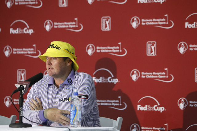 Professional golfer Jarrod Lyle speaks during a press conference at TPC Summerlin, 1700 Village Center Circle, in Las Vegas Tuesday, Oct. 14, 2014. Lyle is competing in the Shriners Hospitals for  ...